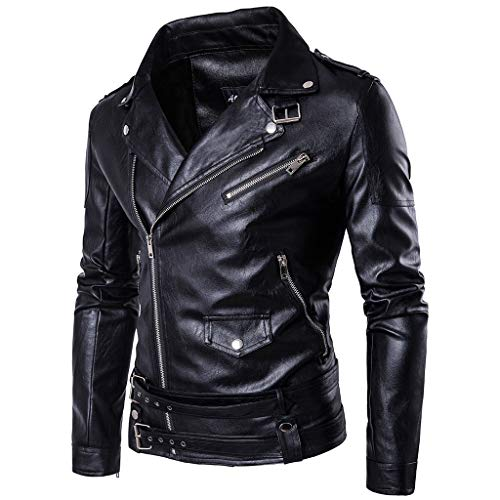 Heren Leather Harley Motorfiets-bomber-lederen jack heren zwart slim fit punk waterdichte mantel motorfiets casual warme bovenkleding