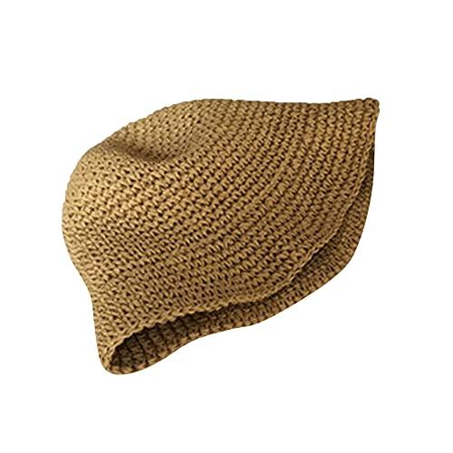GLJYG Cappello estivo da donna in paglia da pescatore, alla moda, da spiaggia, per il tempo libero, da donna, colore: cachi