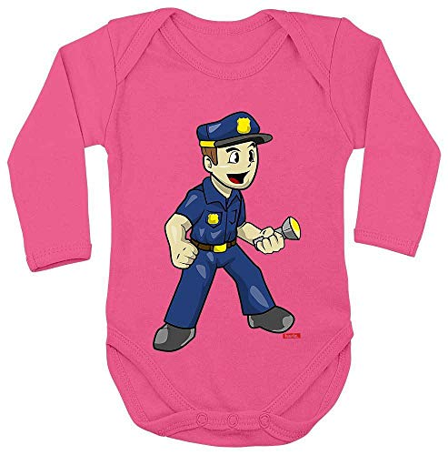 Hariz Baby Body de manga larga Policía Witzig Taschenlampe Polizei Witizg Incluye tarjeta de regalo Unicornio fucsia. Talla:62-68