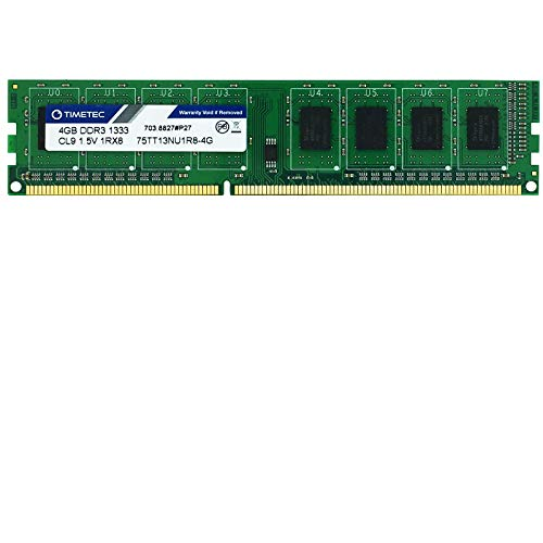 Timetec Hynix IC 4GB DDR3 1333MHz PC3-10600 Unbuffered Non-ECC 1.5V CL9 2Rx8 Dual Rank 240 Pin UDIMM Desktop Memorie Module Upgrade (4GB)