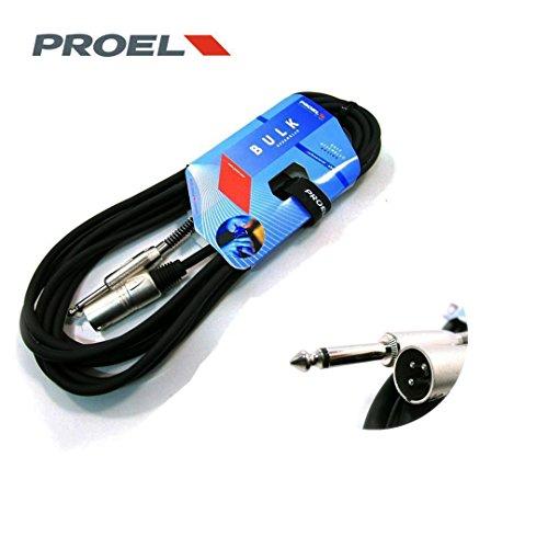 PROEL BULK220LU5 Cavo professionale per Microfono con connessioni spina jack Mono 6.3 mm e spina volante XLR 3P Maschio - 5mt.