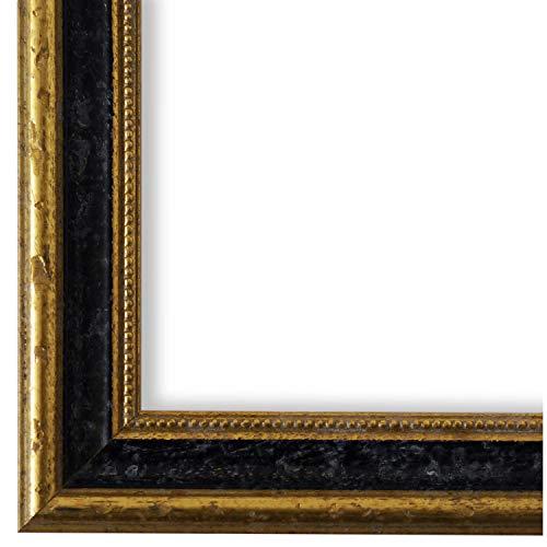 Online Galerie Bingold Bilderrahmen Schwarz Gold DIN A4 (21,0 x 29,7 cm) cm DINA4(21,0x29,7cm) - Antik, Barock, Vintage - Alle Größen - handgefertigt - WRF - Livorno