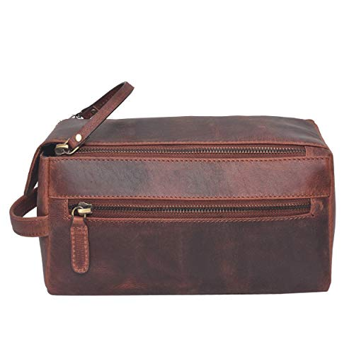 toiletry bag for men - toiletry bag for women leather toiletry bag travel dopp kit Leather dopp men (Brown Crazy Horse)