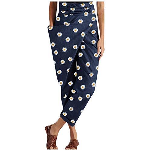 YAAY Pantalones de harén para mujer, diseño de crisantemo, estampado de girasol, estilo retro, hippie, cinturón