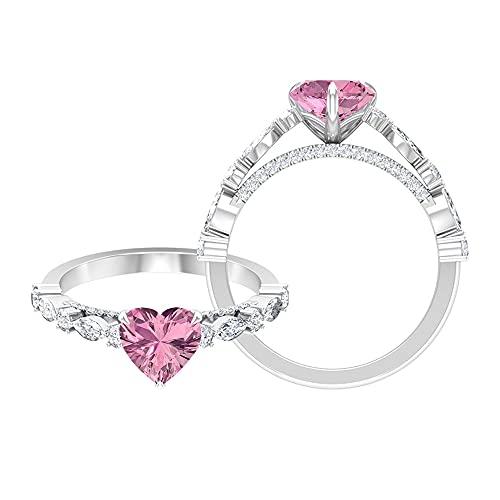 Anillo de compromiso solitario de turmalina rosa con forma de corazón, 7 mm, anillo de compromiso de moissanita de 1/2 quilates, oro blanco de 14 quilates, tamaño: UK S