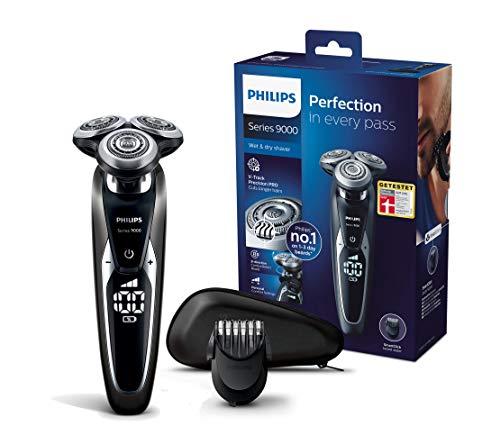 Philips SHAVER Series 9000 S9721/41 - Afeitadora (Máquina de afeitar de rotación, V-Track blade system PRO, SH90, 2 año(s), Negro, Plata, Batería)