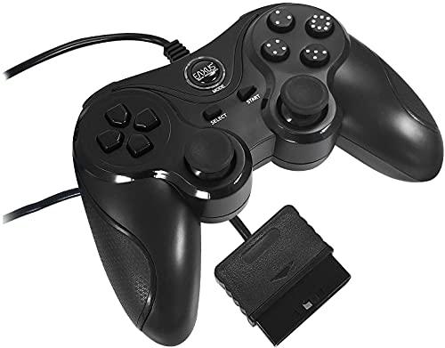 Eaxus® Controller für PS2 & PS1 - PlayStation DoubleShock Gamepad mit Antirutsch-Oberfläche