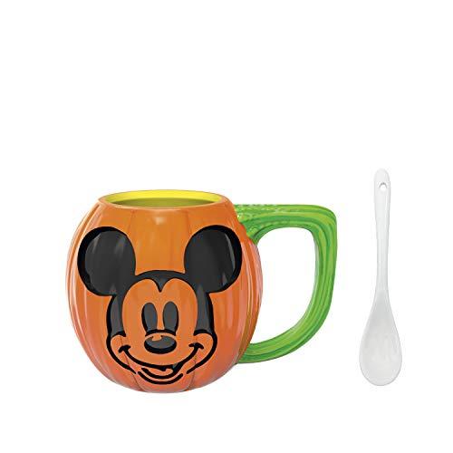 Kaffeetasse mit Löffel aus Keramik, 3D-Motiv Ceramic Sculpted Mug Disney Mickey Halloween Pumpkin