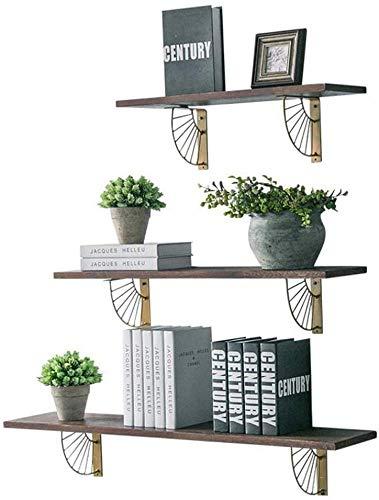 YLCJ Wandplankenset met 3 drijvende planken van hout met ijzeren eenheid, wandplank, decoratief, hoogglans afwerking