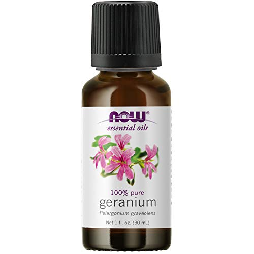 NOW Essential Oils, Geranium Oil, Soothing Aromatherapy Scent, Steam Distilled, 100% Pure, Vegan, Child Resistant Cap, 1-Ounce