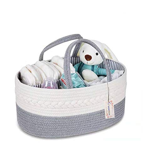 SIGNREEN Cotton Rope Baby Diaper Caddy Organizer - Nursery Diaper Tote Bag with Dividers for Diapers & Wipes with Sturdy Handles | Baby Shower Gift Basket | Portable Car Travel Organizer (Grey)