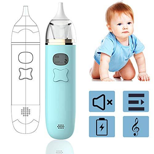 HLSUSAN Nasensauger Baby Elektrischer Nasal Aspirator mit Musik Nasenschleimentferner Sicherer und Schneller Sowie Hygienischer 3 Saugstufen mit 2 Größen Silikon Tipps Tragbar,Grün