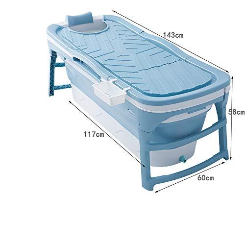 CKR Erwachsene Badewanne bewegliche zusammenklappbare Badewanne, Baby, Kind, Badewanne, Haushaltsgroß Wannenfaltwand Duschwanne, freistehende Badewanne für Kinder Baby-Kleinkind,Blau