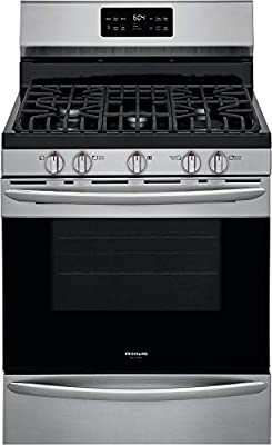 """Frigidaire GCRG3038AF 30"""" Gallery Series Stainless Steel Freestanding Gas Range with 5 cu. ft. Oven Capacity 5 Burners Cast Iron Continuous Grates and Steam Cleaning"""