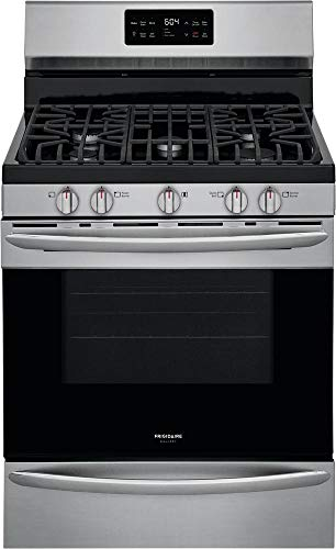 Frigidaire GCRG3038AF 30' Gallery Series Stainless Steel Freestanding Gas Range with 5 cu. ft. Oven Capacity 5 Burners Cast Iron Continuous Grates and Steam Cleaning