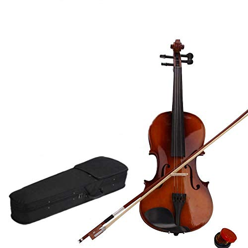 Acoustic Violin Fiddle with Case +Bow +Rosin Basswood Black Hot (1/2, Natural color)