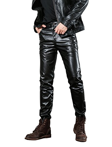Idopy Herren Slim Fit Soft PU Faux Leder Biker Hose Trachtenlederhose Trachtenlederhose Lederhosen, 30W, Schwarz