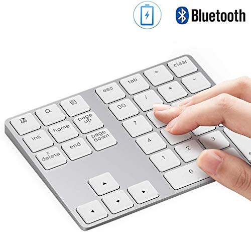 Nummernblock Bluetooth,KINGCOO Wiederaufladbares Aluminium Kabelloser Ziffernblock 34-Tasten Extern Numerische Tastatur Dateneingabe für Android MacBook iMac Windows Laptop PC Notebook (Silber)