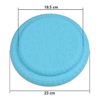 BUYGOO 2 Pièces Frisbees pour Chiens Doux et Naturels Disques Volants Jouet pour Mordre et Entraînement avec des Couleurs Brillantes pour Petit/Moyen/Grand Chien (Bleu)