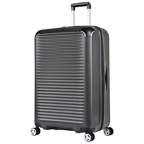 Eminent Koffer Materia L 77cm 109L super leicht extra Eckenschutz Anti-Kratz-Hartschale 4 Doppelrollen 360° Hartschalenkoffer Grau