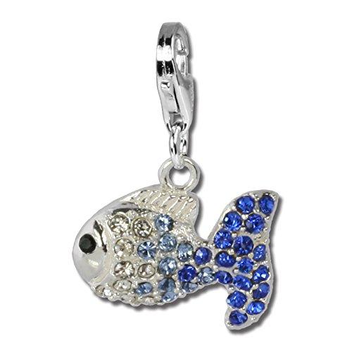 SilberDream Glitzer Charm Swarovski Kristalle Fisch blau ICE Anhänger 925 Silber für Bettelarmbänder Kette Ohrring GSC001