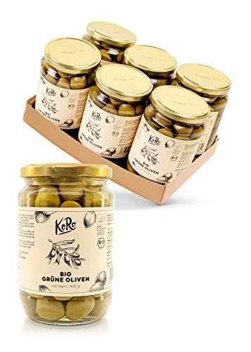 KoRo – Biologische groene olijven met pit 6 x 400 g – Zonder bewaarmiddelen – Intens pikante smaak – Grote pot voor een…