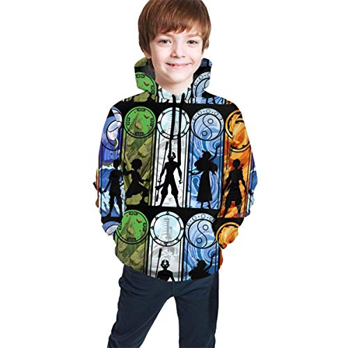 Hidend Kinder Kapuzenpullover Sweatshirt, Avatar The Last Legend Airbender of Korra Aang Fashion Teen Hooded Sweater Black