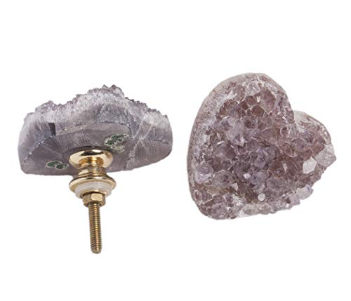 AMOYSTONE 2pcs Amethyst Drawer Knobs Pulls Handle Purple for Decorative Dressers Drawer, Kitchen Cabinet Door 1.5'