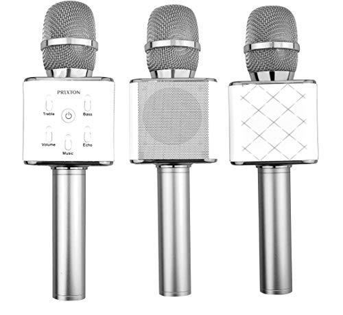 PRIXTON - Micrófono Inalámbrico Profesional, Funciona por Bluetooth y USB, Incluye 2 Altavoces y Función Karaoke, Color Plata