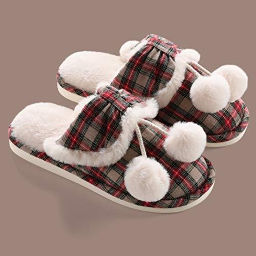 DYXYH Zapatillas De Algodón para Mujer E Invierno Más Terciopelo Cálido para Pareja Zapatillas De Lana De Piel para El Hogar Zapatos para El Hogar Zapatillas De Algodón