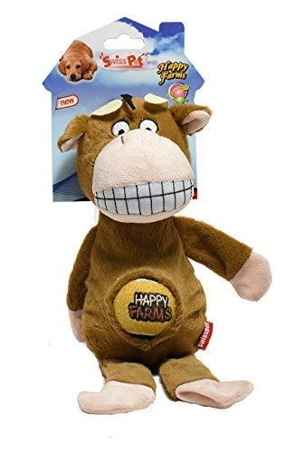 SwissPet Hundespielzeug Happy Farms Pferd, Esel, Kuh - mit Quietscher (Kuh)