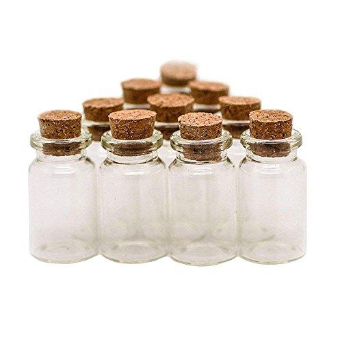 RUBY 20 Botellas de Deseo 22mm x 40mm, mini botellas de cristal con tapones de...
