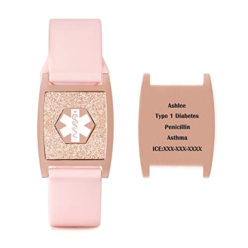 Medical Alert ID Bracelets Rose Gold Engraved Tag with Adjustable Silicone Sport Wristbands for Women and Girls Free Engraving Allergy Emergency Awareness Bracelet 6-8.5 inch