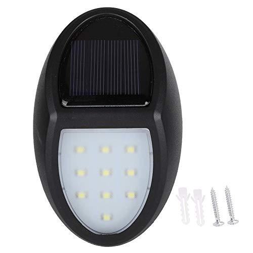 Luz de escalera solar, impermeable al aire libre, 10 LED, blanco brillante, lámpara de pared solar, luz de valla, lámpara de pared LED, apta para paisaje, jardín, balcón, escalera de seguridad(negro)