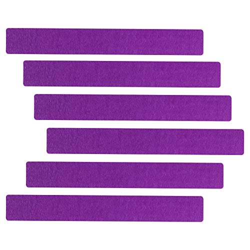 6Pcs Felt Bulletin Board Bar Strip Memo Board(15'×2'),Include(24push pins,27adhesives) for Office, Classroom,Home (Purple)