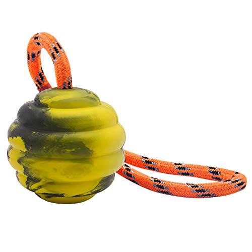 Vivifying Hundeball auf einem Seil, Interaktiver Naturkautschuk Hüpfball zum Apportieren, Fangen, Werfen und Ziehen des Krieges (Gelb)