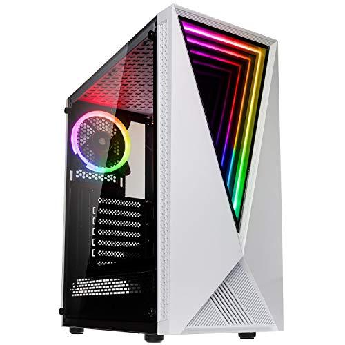 Kolink Void Boitier PC Moyen Tour - Façade avec éclairage RGB - Panneau latéral en Verre trempé (Void RGB, Blanc)