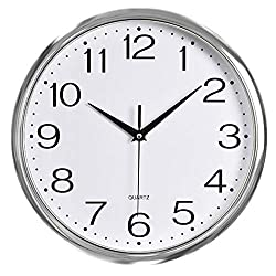 Foxtop Silver Wall Clock, 12 Inch Non-Ticking Modern Decorative Battery Operated Clock for Living Room Bathroom Bedroom Office School Classroom