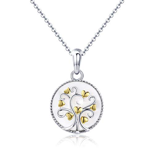 Tree of Life Pendant Necklace for Women, 925 Sterling Silver Family Tree Symbol Circle Natural Mother of Pearl Shell Love Heart Pendant Necklace