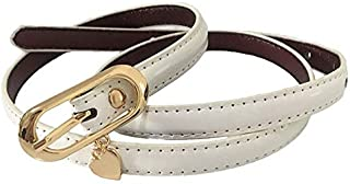 JJXSHLFL Belt Lady's top Layer Thin Belt Fashion Decorative Jeans with Simple pin Buckle (Color : White)