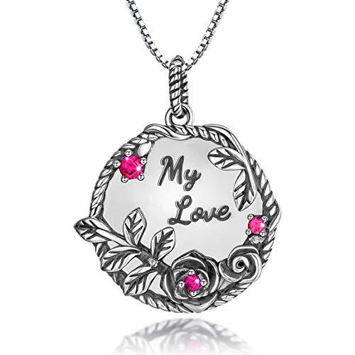 Collar con medallón de plata de ley con colgante de rosa y diseño de flores, ideal como regalo de aniversario para mujeres y niñas y madres