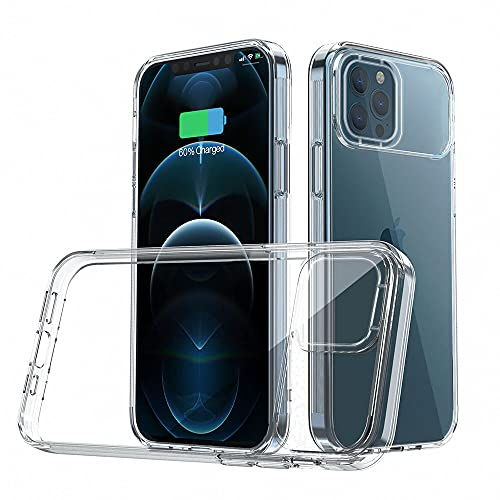 Dqtaoply Funda Transparente Compatible con iPhone 12/12 Pro, Funda con Protección de Cámara Antideslizante Resistente a Los Arañazos Híbrida PC y Silicona TPU para iPhone 12/12 Pro (Transparente_2)
