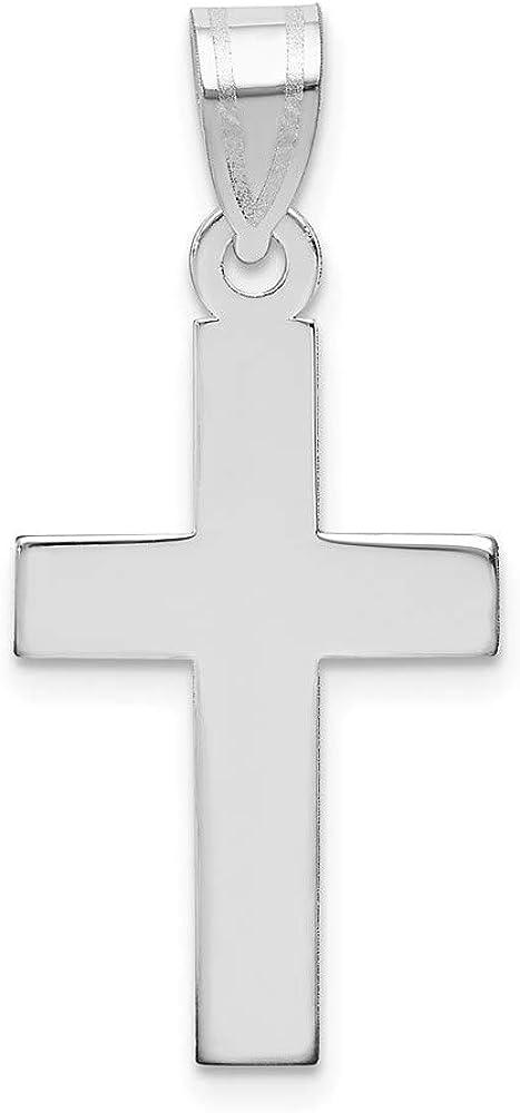 14k White 2021 new Gold Polished Cross 15mm style 30mm Pendant Sacramento Mall XWR14