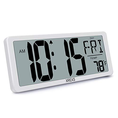 XREXS Digitale Wanduhr Groß - 13,46'' Grosse LCD Anzeige Wanduhr, Wanduhr Digital mit Kalender, Wecker, Temperatur und Timer, Lauter Alarm und Klar, Kalenderuhr für Decor(Batterie enthalten)