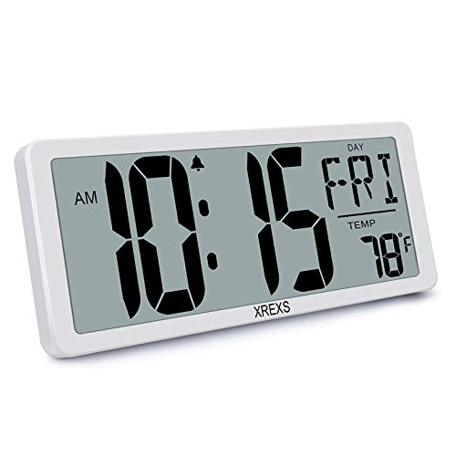 XREXS Digitale Wanduhr - 13,46\'\' Grosse LCD Anzeige Wanduhr, Wanduhr Digital mit Kalender, Wecker, Temperatur und Timer, Lauter Alarm und Klar, Kalenderuhr für Decor(Batterie enthalten)