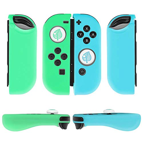 TNP Gel Guards with Thumb Grips Caps for Nintendo Switch Joy-Con Grip - Protective Case Covers Anti-Slip Lightweight Animal Crossing Design Comfort Grip Controller Skin Accessories (1 Pair White Leaf)