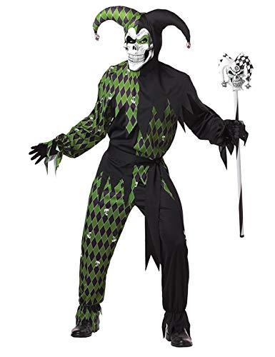 KULTFAKTOR GmbH Böser Clown Harlekin Halloween-Kostüm schwarz-grün M