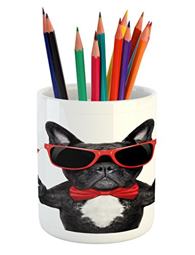 Lunarable Funny Pencil Pen Holder, French Bulldog Holding Martini Cocktail Ready for The Party Nightlife Joy Print, Ceramic Pencil Holder for Desk Office Accessory, 3.6' X 3.2', Black White