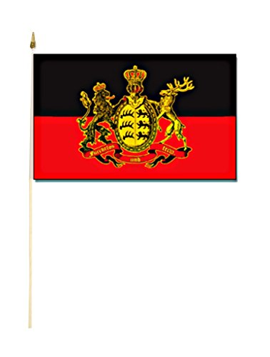 Sportfanshop24 Stockflagge/Stockfahne KÖNIGREICH WÜRTTEMBERG Flagge/Fahne ca. 30 x 45 cm mit ca. 60cm Stab/Stock