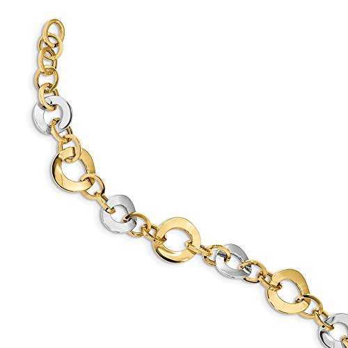 14k Two Tone Yellow Gold Link W 1 Inch Extension Bracelet 7.5 Fancy Fine Jewellery For Women Gifts For Her